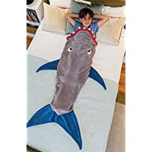 Fyore Kids Shark Tail Blanket Flannel Soft Warm All Seasons Children Sleeping Bags for Girls Bed Sofa (Gray and Blue)