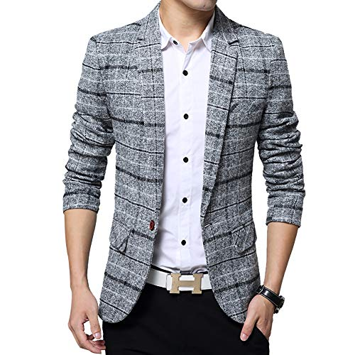 (Men's Tweed Plaid Blazer Jacket Casual Business Sport Coat Long Sleeve One Button Slim Fit Suits Single-Breast Outwear (Grey, X-Large))