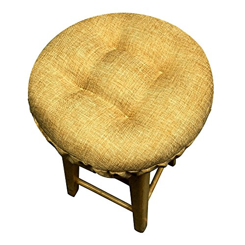 Padded Bar Stool Cover - Hayden Heathered - Latex Foam Fill Barstool Cushion with Adjustable Drawstring Yoke - Made in USA (Solid Color) (Honey Brown, Standard) (Barstool Seat Covers compare prices)