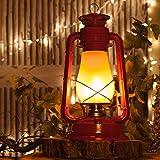 Red Realistic Electric 15.5'' Metal Flickering LED Lantern - Christmas Lantern, Hanging Lanterns