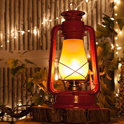 Red Realistic Electric 15.5'' Metal Flickering LED Lantern - Christmas Lantern, Hanging Lanterns by Wintergreen Lighting