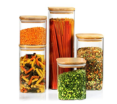 5 Square Canisters, Glass Kitchen Canister with Airtight Bamboo Lid, Glass Storage Jars for Kitchen, Bathroom and Pantry…