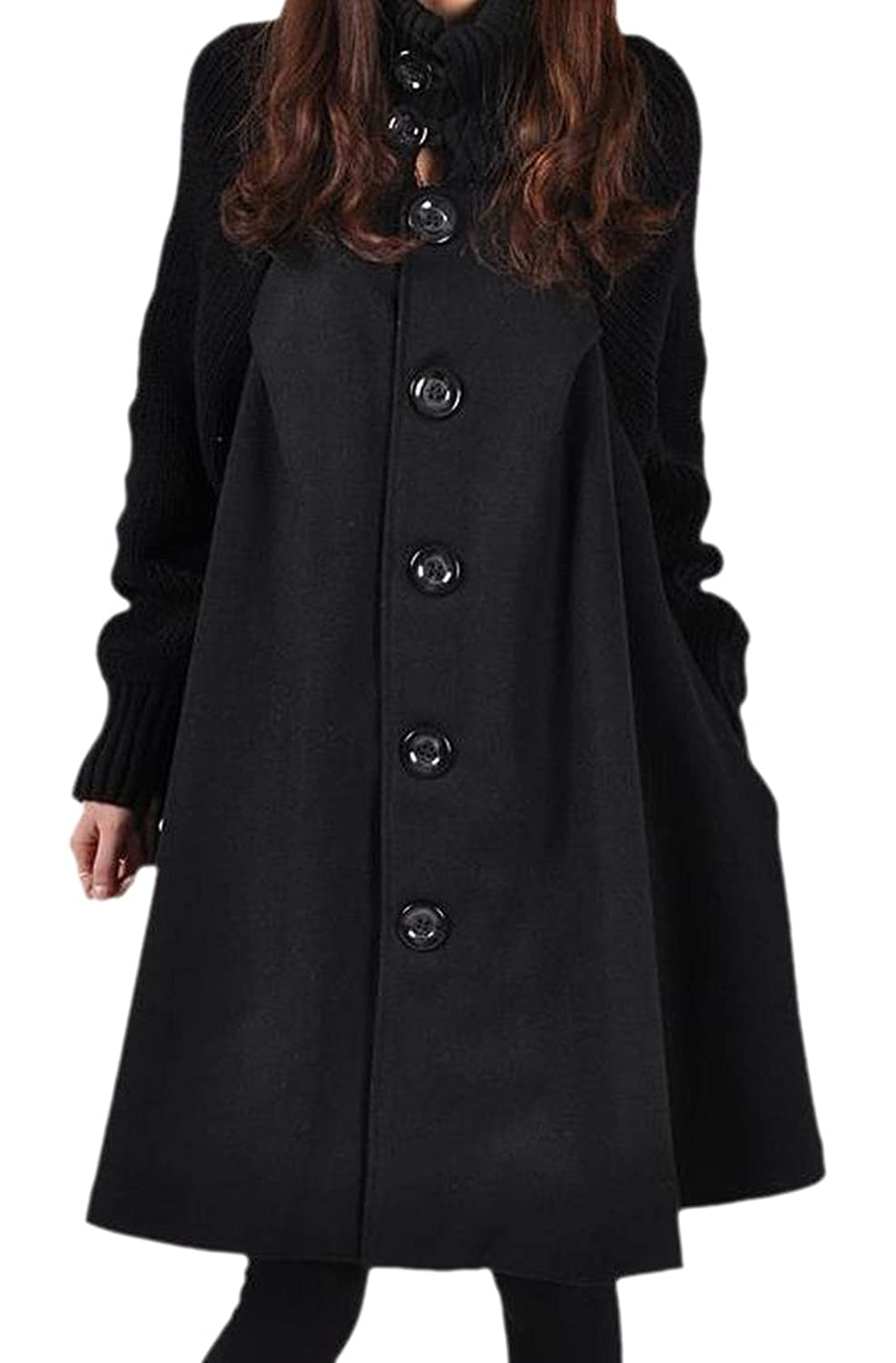 Zago Women's Solid Colored Simple Long Sleeve Woolen Coat