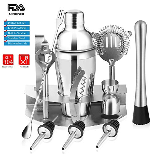 Cocktail Shaker Set, 12 Piece Bartender Kit with Stand, 19oz Bar Mixology Tool Novelty Gifts Set for Men: SteeL Cocktail Shaker, Strainer, Muddler, Duable Jigger, Liquor Pourer, Mixing Spoon and etc.