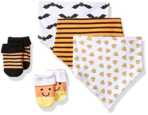 Hudson Baby Baby Bandana Bib & Socks Set, 5 Piece, Candy Corn 0-9 Months]()