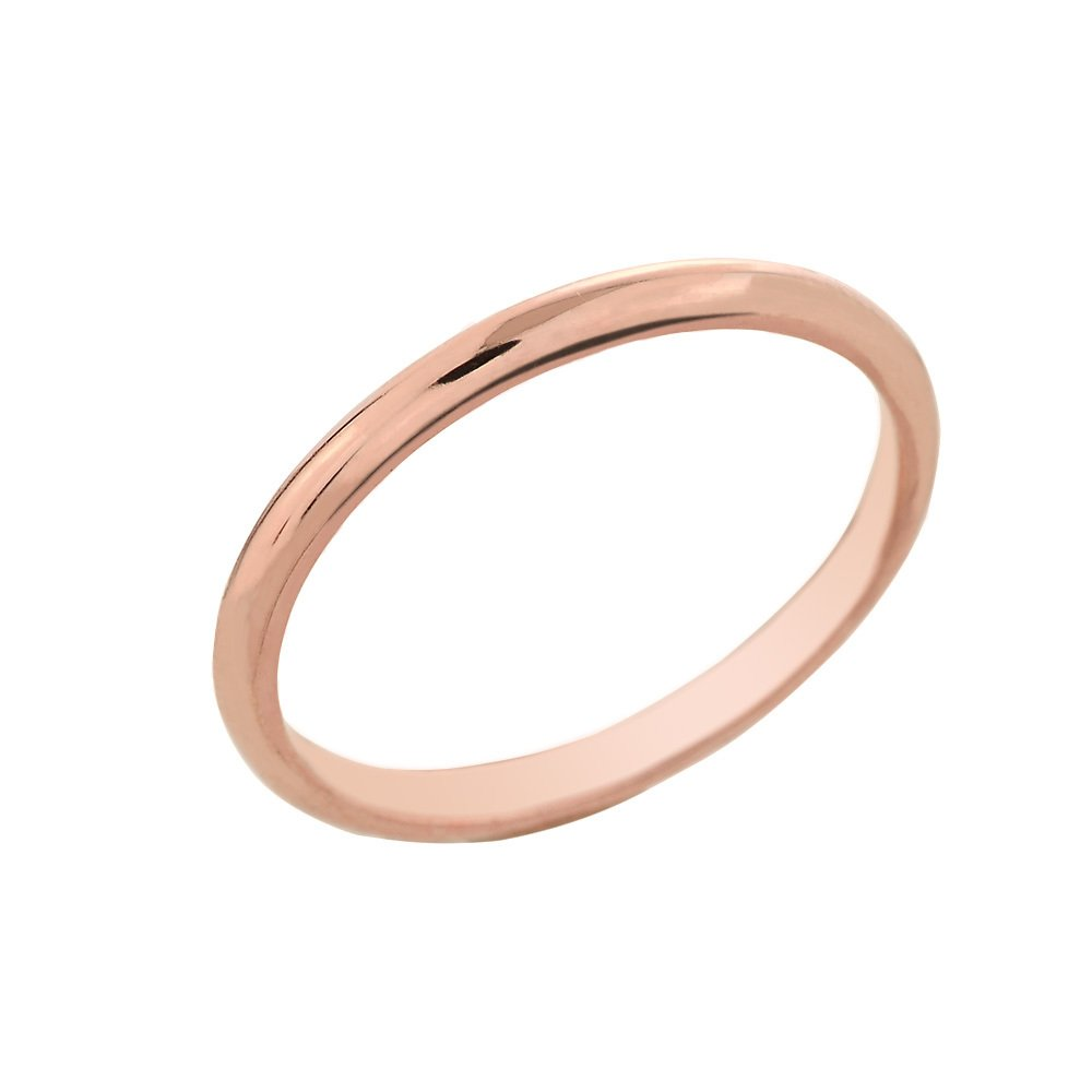 Dainty 10k Rose Gold Comfort-Fit Band Traditional 2mm Wedding Ring for Women, Size 5.5