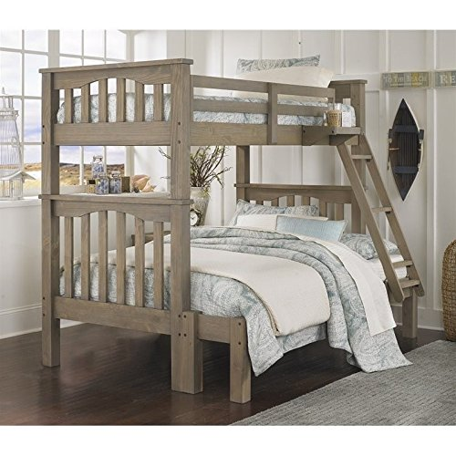 NE Kids Highlands Harper Twin Over Full Bunk Bed in Driftwoo