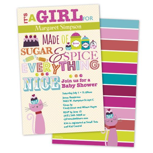 Sugar, Spice and Everything Nice Personalized Baby Shower Invitations (Set of 10)