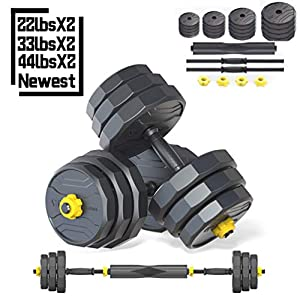 IRUI Adjustable Dumbbells Set, Free Weights Dumbbells with Connecting Rod Used As Barbell for Gym Work Out Home Training…