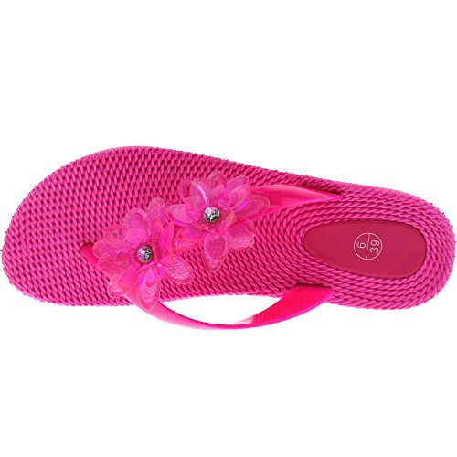Ladies Casual Summer Sandals Flip Flops Size UK 3-8 Black Fuchsia White LP3029-Fuchsia-UK 3 (EU 36)