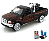 Diecast Car & Garage Diorama Package - 1999/2002 Ford F-350 Super Duty Pickup Harley-Davidson / FXSTB Night Train Motorcycle, Black w/ Flames - Maisto HD 32181 - 1/27 scale /1/24 Scale