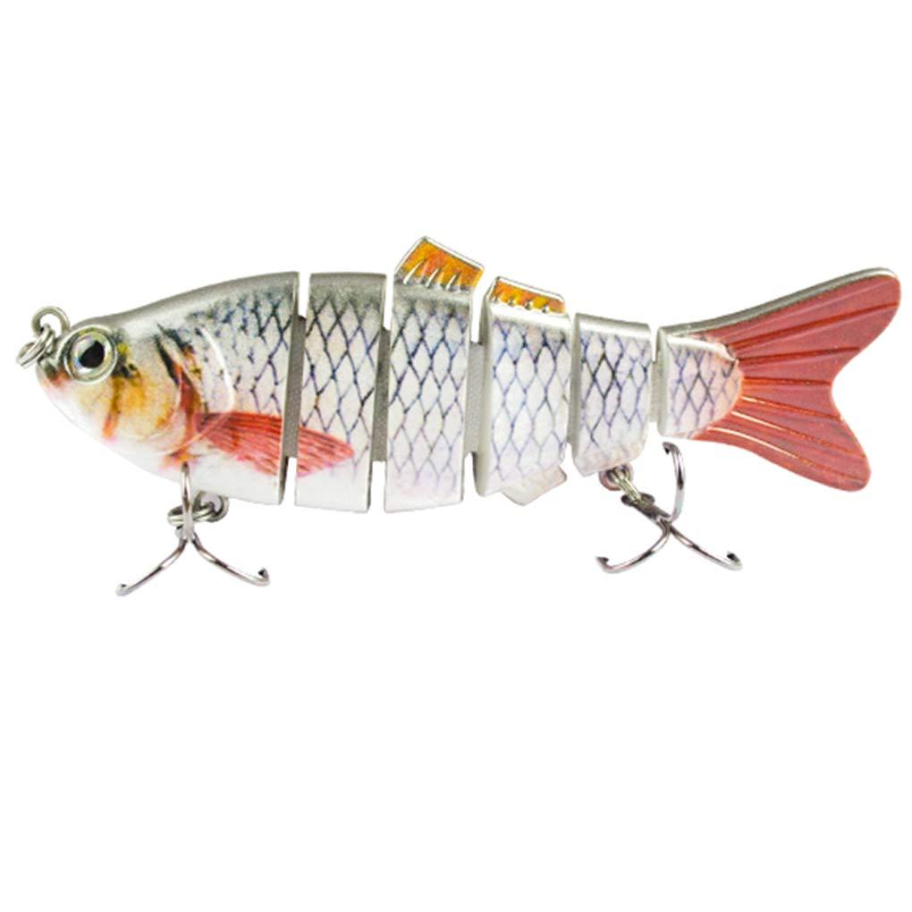 Uzinb Bionic se/ñuelos Artificiales de m/últiples Secciones de Pescado en Forma de Cebo de Pesca Realista del Gancho Color Mezclado Spinner