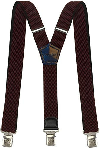 Mens Suspenders Wide Adjustable and Elastic Braces Y Shape with Very Strong Clips - Heavy Duty (Maroon)
