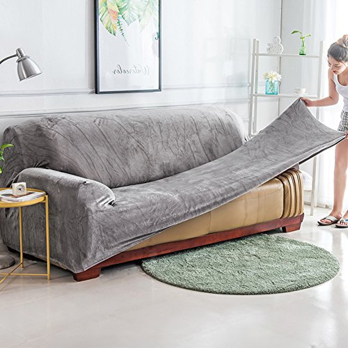 YQ WHJB Anti-Slip Elastic slipcover,Plush Solid Color Sofa Cover,Winter Thicker Surefit Stretch Furniture Protector for 1 2 3 4 Cushions Sofa Leather Sofa Stain-Resistant Couch Covers-Gray Sofa
