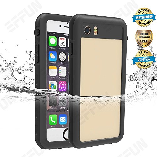 Effun iPhone 7/8 Waterproof Case, IP68 Certified Waterproof Underwater Cover Dirtproof Snowproof Shockproof Case with Cell Phone Holder, PH Test Paper, Stylus Pen and Inflatable Floating Strap Black