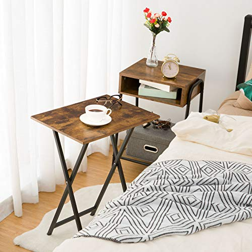 Hoobro Set Of 4 Tv Trays Folding Tv Tables With Storage Stand Portable Sofaside Table Industrial