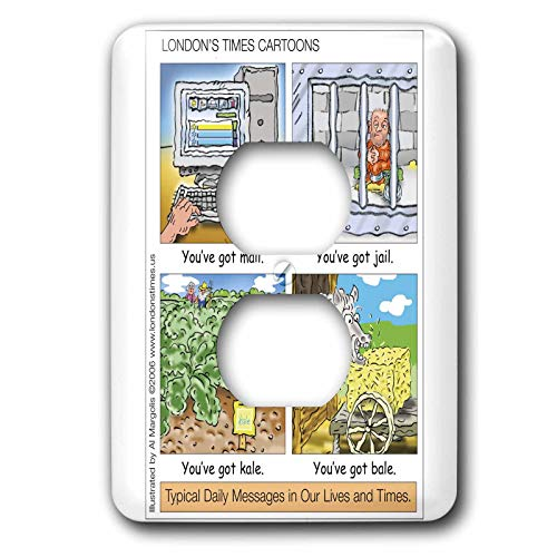 3dRose Londons Times Funny Silly Wordplay Cartoons - You ve Got Mail, Jail, Kale, and Bale - Light Switch Covers - 2 plug outlet cover (lsp_3434_6)