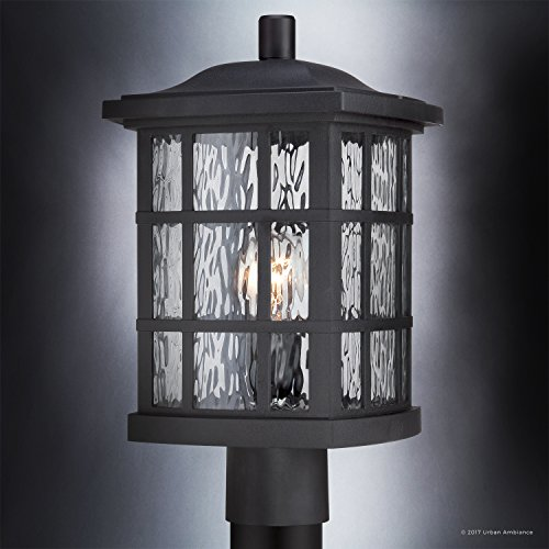 Luxury Craftsman Outdoor Post Light, Medium Size: 16.5''H x 9.5''W, with Tudor Style Elements, Highly-Detailed Design, High-End Black Silk Finish and Water Glass, UQL1246 by Urban Ambiance by Urban Ambiance (Image #2)