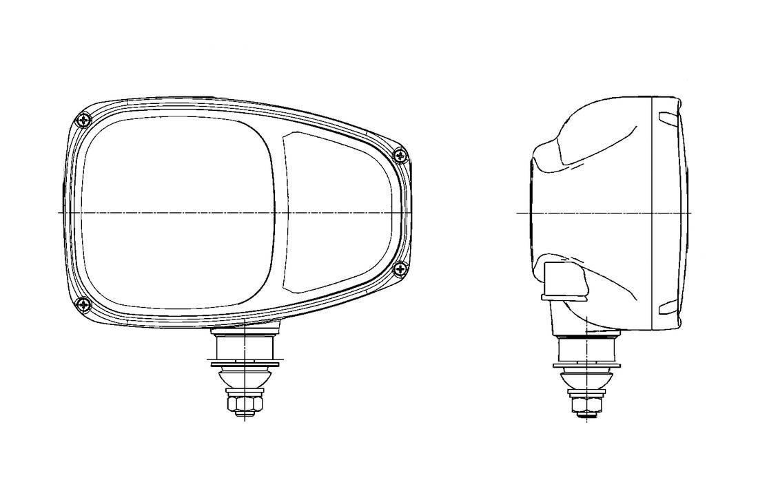 Rechtsverkehr 12V HELLA Kombinationsscheinwerfer C220 rechte zentrische Anbauseite 996174-221