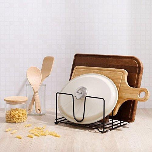 Kitchen Cabinet Pantry Pot Lid and Bakeware Organizer Rack Holder, Bronze by Pariffel