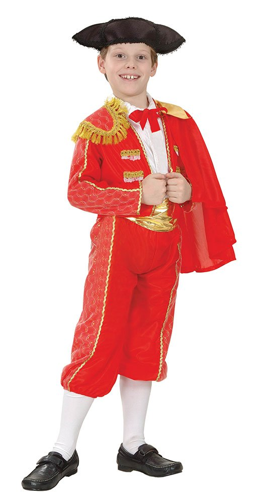 Bristol Novelty CC678 Matador Costume, Red, Medium, Approx Age 5 - 7 Years, Matador (M)