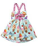 Toddler Girls Summer Ice Cream Print Princess Dress Strap Backless Dress Size 4Years/Tag120 (Colour)