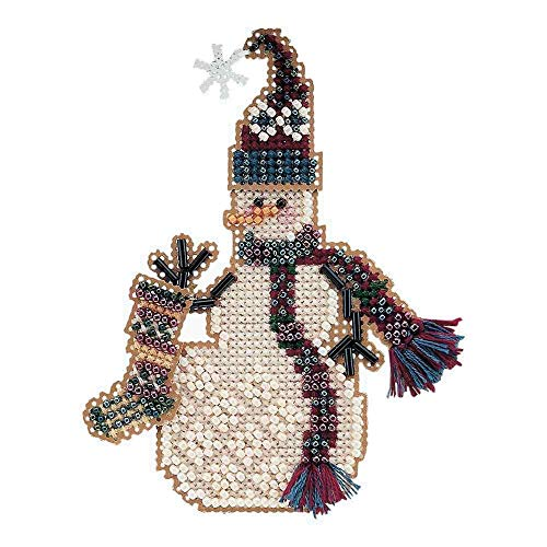 Stocking Snow Charmer Beaded Counted Cross Stitch Christmas Ornament Snowman Kit Mill Hill 2001 Snow Charmers MHSC27 ()