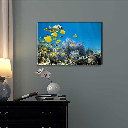 Underwater Coral Reef Scenery with Colorful School of Fish Wall Decor ation