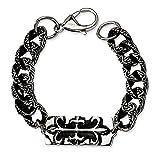 Stainless Steel Antiqued-Style Fluer de Lis 9in Bracelet (16mm)