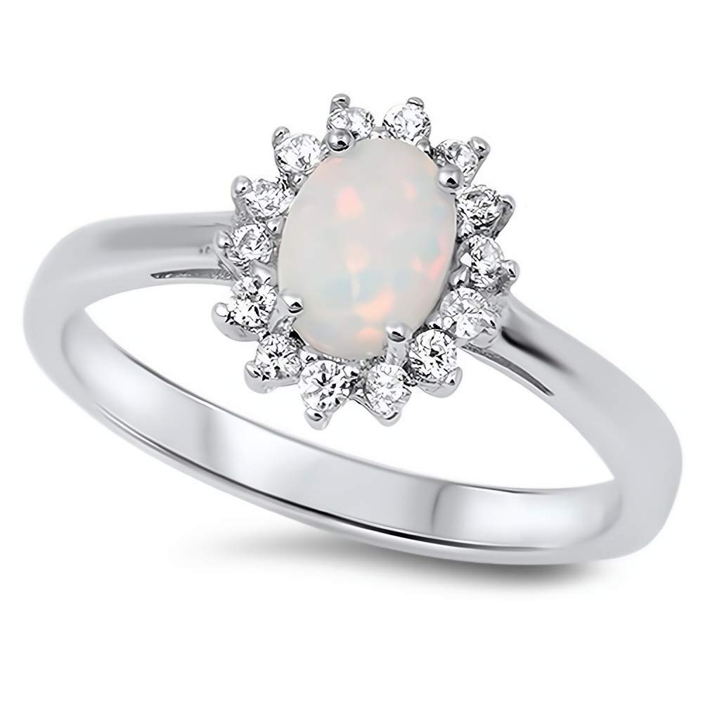 Glitzs Jewels 925 Sterling Silver Created Opal Ring White With Clear CZ Jewelry Gift for Women