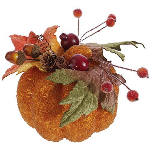 Beaded 6 Inch Acorn Berry Styrofoam Fall Harvest Tabletop Pumpkin by RAZ Imports