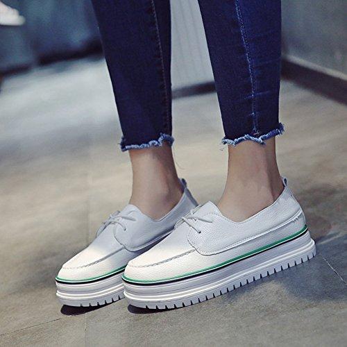 Cybling Kvinna Casual Komfort Enkel Snörning Tjocka Sulor Skor Mode Sneakers Grönt