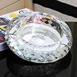 Home Ashtray Crystal Glass Cigarettes Windproof Living Room Coffee Table Multi-function Indoor And Outdoor Ashtray (Silver) ( Size : 25CM )