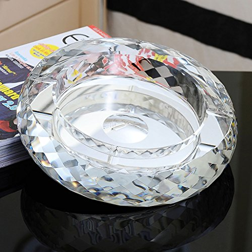 Home Ashtray Crystal Glass Cigarettes Windproof Living Room Coffee Table Multi-function Indoor And Outdoor Ashtray (Silver) ( Size : 25CM ) by LTM Ashtray