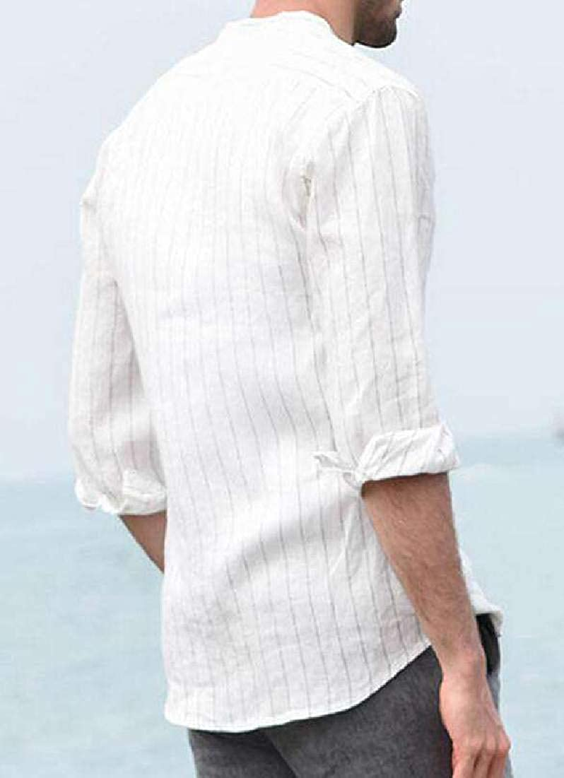 X-Future Mens Stripe Linen Long Sleeve Slim Casual Button Front Shirts
