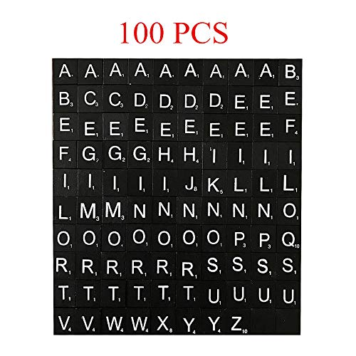 Letter Tiles, 100 PCS Black Scrabble Wood Tiles for Game, Decorating Photo Frames, Wooden Boxes, Creating Unique Wreaths, Spell Out Names Or Popular Themes (Best Scrabble For Pc)