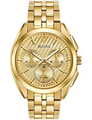 Bulova Mens 45mm CURV Collection Stainless Steel Goldtone Chronograph Watch