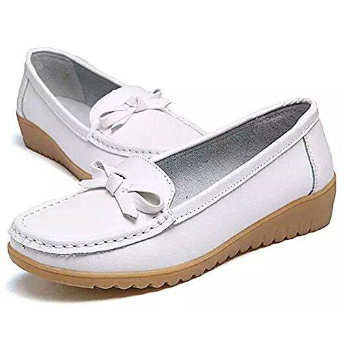 Damen Fahren Halbschuhe Casual Leder Loafers Flatschuhe Low-top Schuhe Erbsenschuhe Slippers Mokassin Stil2-Weiß
