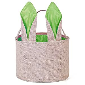 Easter Egg Basket for kids Bunny Burlap Bag to Carry Eggs Candy and Gifts (Green)