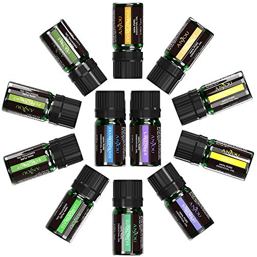 Anjou Top 12 100 Pure Aromatherapy Essential Oil Kit, 12 x 5 ml (Lavender, Sweet Orange, Peppermint, Tea Tree, Eucalyptus, Lemongrass, Bergamot, Frankincense etc.) (12 Pair Oil)