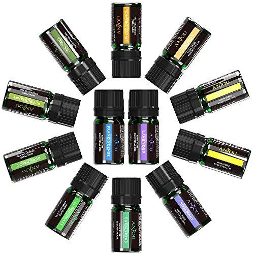 Essential Oils Set, Anjou Top 12 100 Pure Aromatherapy Essential Oil Kit, 12 x 5 ml (Lavender, Sweet Orange, Peppermint, Tea Tree, Eucalyptus, Lemongrass, Bergamot, Frankincense etc.) Cinnamon Essential Oils Lip Balm
