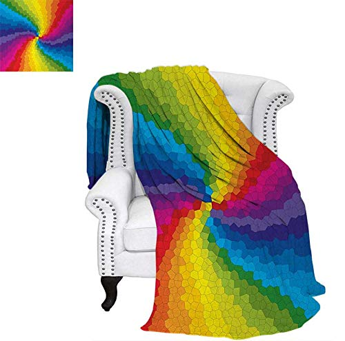 Warm Microfiber All Season Blanket Stained Glass Design in Rainbow Colors Burst Effect Abstract Mosaic Swirls Artwork Print Artwork Image 80