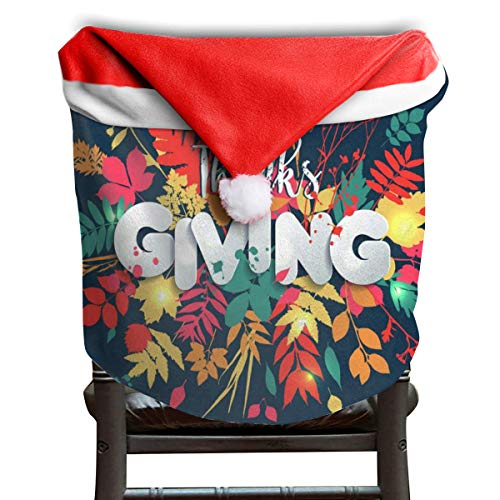 (OuLian Christmas Hat Chair Covers Thanks Giving Chairs Back Cover Slipcovers Kitchen Sets for Holiday Decorations)