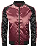 ALMAS APPAREL Mens Hipster Hip Hop Slim Fit Satin Flight Jacket (Large, Burgundy-Black)