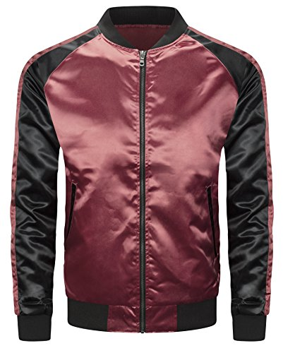 ALMAS APPAREL Mens Hipster Hip Hop Slim Fit Satin Flight Jacket (Large, Burgundy-Black) by ALMAS APPAREL