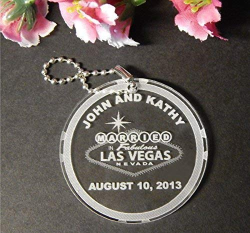 50 Acrylic Las Vegas Key Chain Favors customized with Names and Date of Wedding