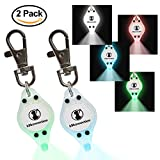 Bicycle Dog Leash - K9konnection® NEW LED Pet Safety Strobe Leash Light with Clip-on Hook for Collar - Blinking Bright Multi Colors Great for Night Walks, Running, or Finding lost Dog or Cat - 2 Per Pack - White/Blue