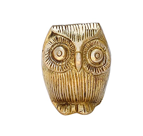 "SouvNear SG-ALIGH-009 Insightful Cute Little Lucky Statuette with Googly Eyes Brass Owl, 2"", Golden"