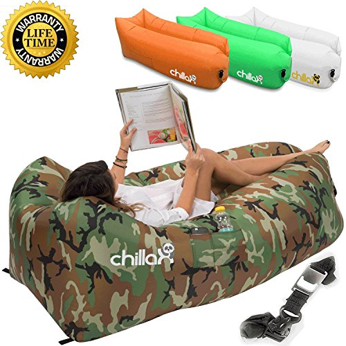 ChillaX Inflatable Lounger with Carry Bag, Securing Stake and Bottle Opener for Travelling, Camping, Hiking, Pool and Beach Parties (Camouflage)