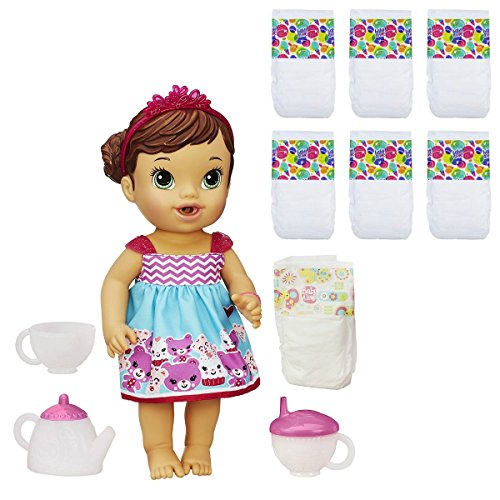 Baby Alive Lil Sips Baby Has a Tea Party Doll (Brunette) & Baby Alive Diapers 6 Pack Bundle by Baby Alive